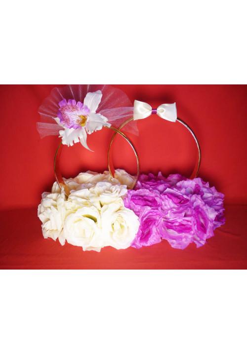 Кольца на а/м малые Жених+Невеста беж/сирень + орхидея