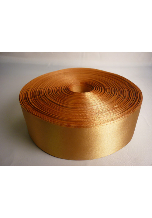 Лента атлас 5см/100м золотая