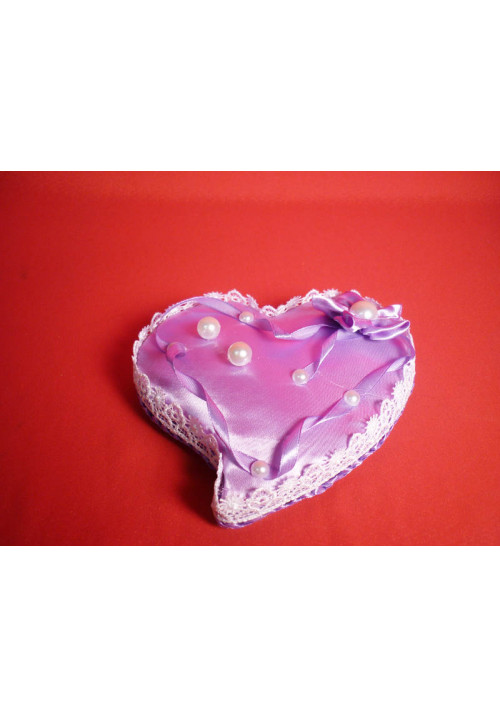Подставка под кольца в виде сердца сирень