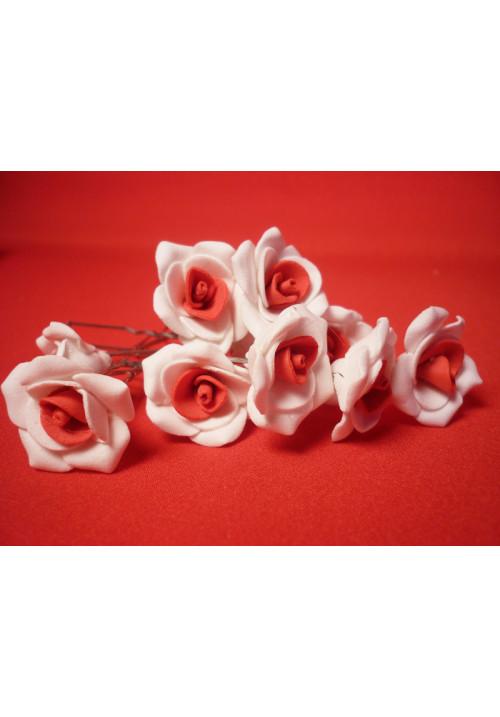 Цв. на шпильке роза №2 (уп.10шт) (бел-красн)