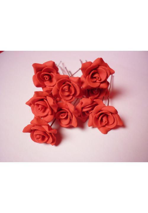 Цв. на шпильке роза №2 (уп.10шт) (красн)