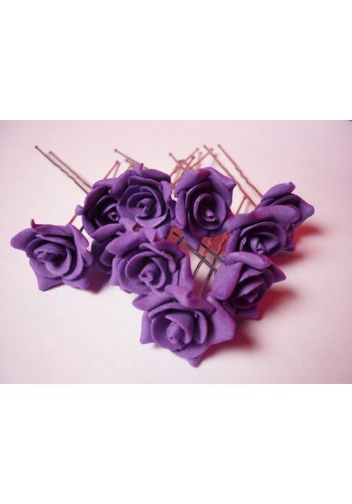 Цв. на шпильке роза №2 (уп.10шт) (фиолет)