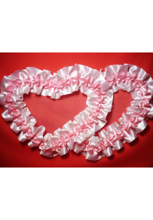 Сердца №10/5 атлас бело-розовые