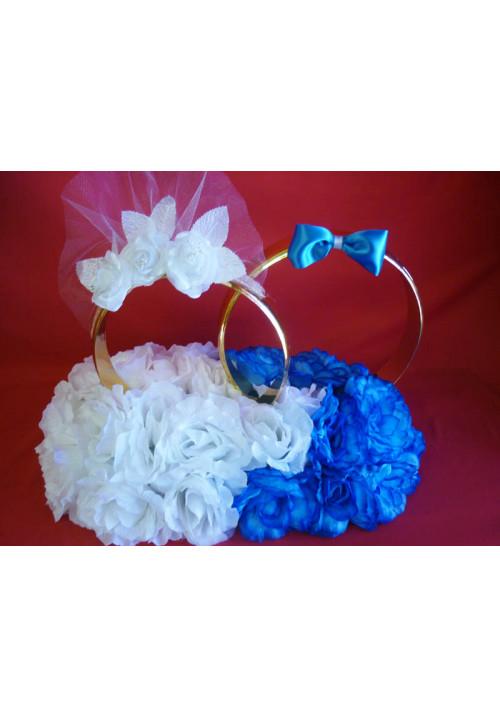 Кольца на а/м малые Жених+Невеста бел-син