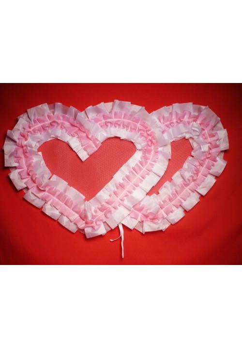 Сердца №10/5 п/э бело-розовые