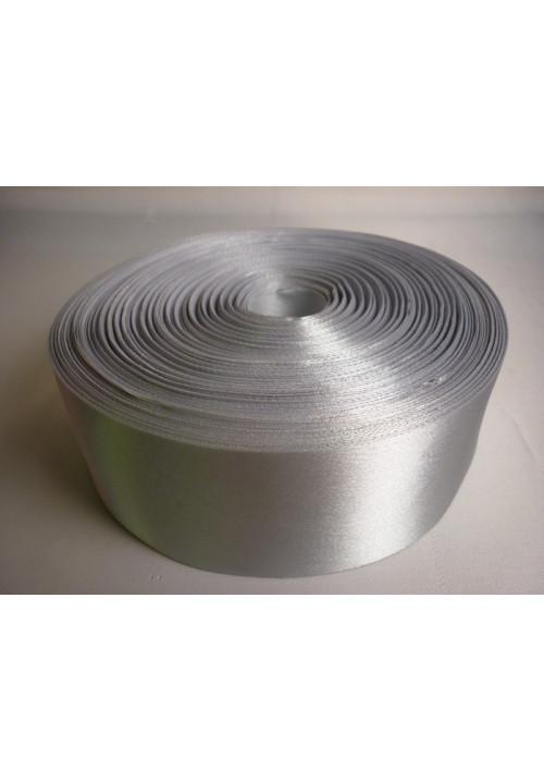 Лента атлас 5см/100м серебро