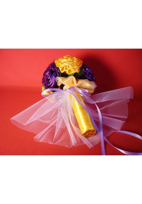 Букет Роза атлас №2 жёлто-фиолет
