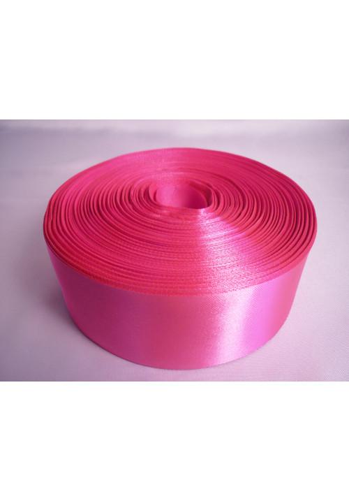 Лента атлас 5см/100м ярко-розовая