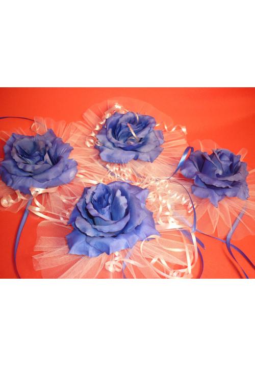 Цветы на зеркала и ручки а/м сине-белые (уп.4 шт)