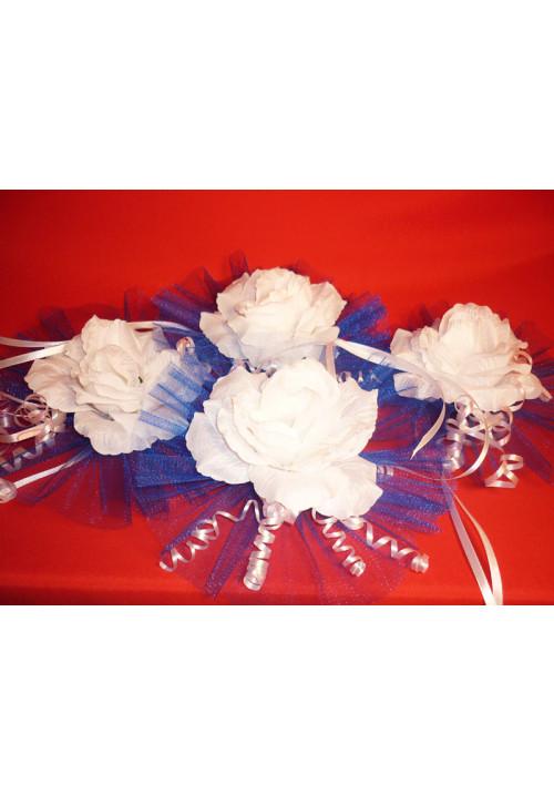 Цветы на зеркала и ручки а/м бело-синие (уп.4 шт)