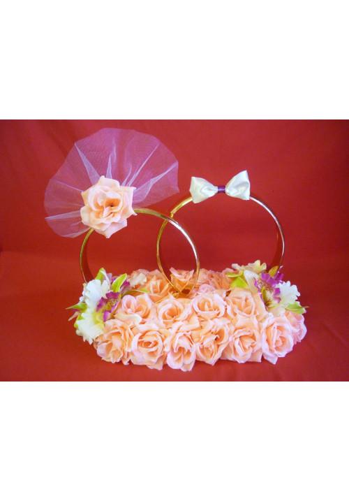 Кольца на а/м малые Жених+Невеста оранжевый+орхидея