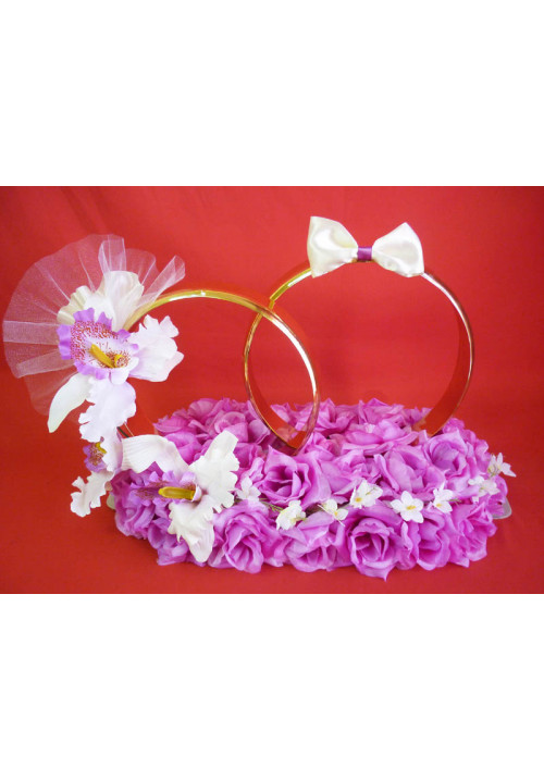 Кольца на а/м малые Жених+Невеста сирень+орхидея