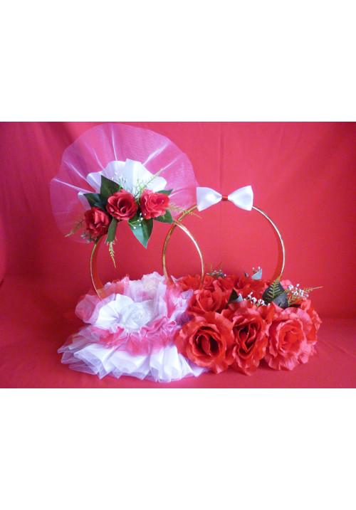 Кольца на а/м малые Жених+Невеста красно-белый