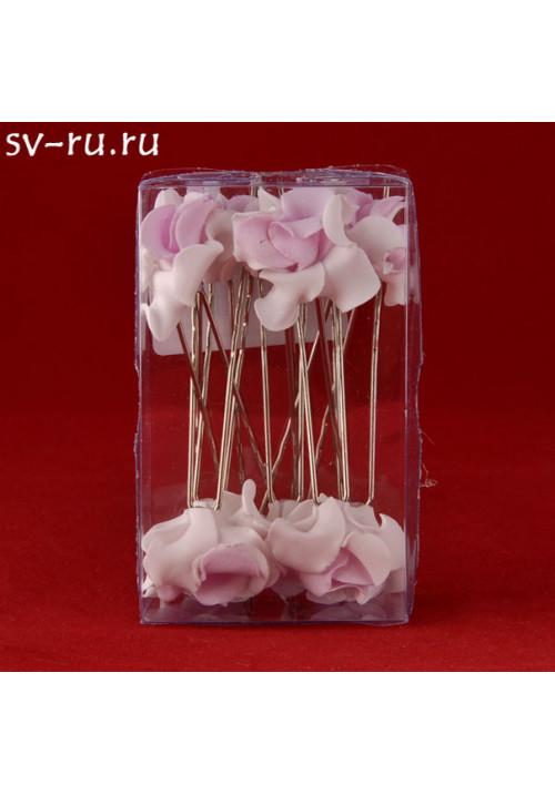 Цв. на шпильке лилия (уп.10шт) (бел-роз)