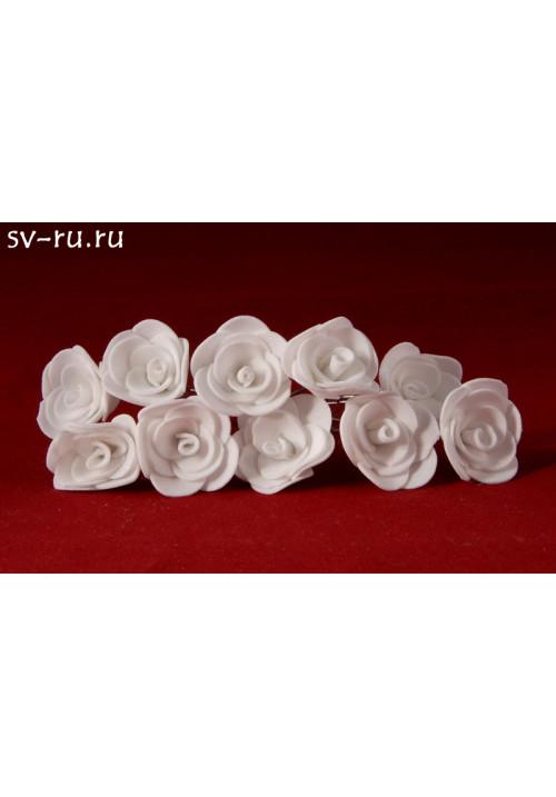 Цв. на шпильке роза (уп.10шт) (бел)